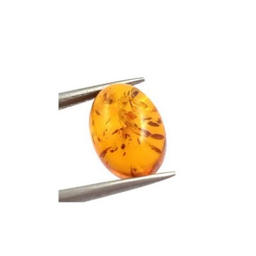 Yellow orange baltic amber oval cabochon